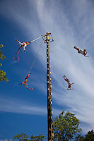 Papantla Flying Men, a Mayan ceremony performed in the spring in hope of a good harvest.  Xcaret, Riviera Maya, Yucatan, Mexico.