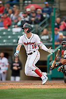 Rochester Red Wings Brent Rooker (19) hits a single during an International League game against the Charlotte Knights on June 16, 2019 at Frontier Field in Rochester, New York.  Rochester defeated Charlotte 3-2 in the second game of a doubleheader.  (Mike Janes/Four Seam Images)