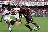 2nd October 2021; Arechi Stadium, Salerno, Italy; Serie A football, Salernitana versus Genoa : Luca Ranieri of Salernitana takes on Mattia Bani of Genoa