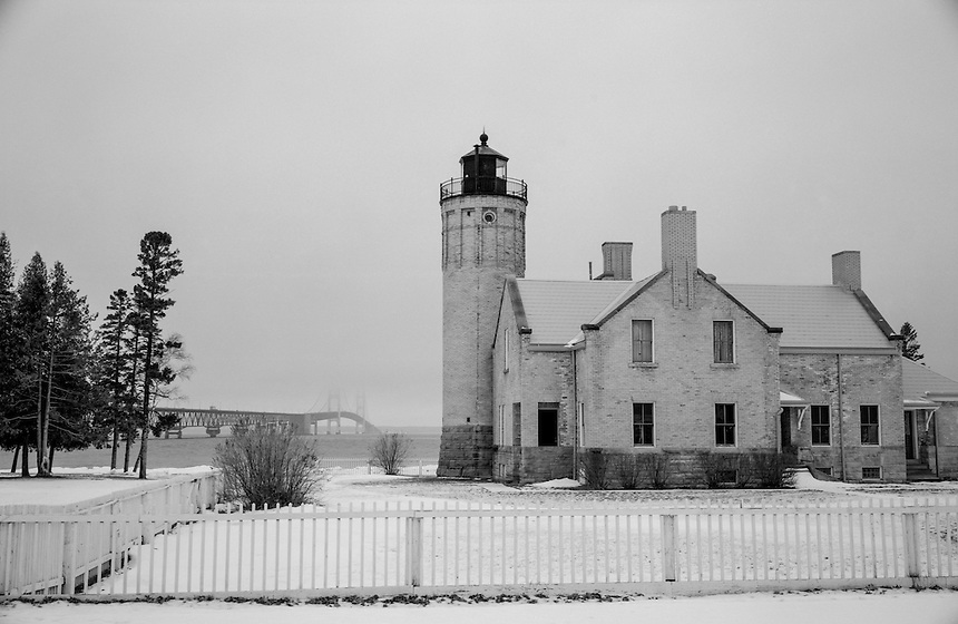 (Film) Old Mackinac Point Light with the Mackinac Bridge in the distance. Mackinaw City, MI - Ilford Delta 100 Pro film