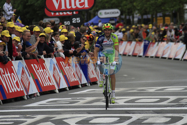 Alessandro Vanotti (ITA) Liquigas-Cannondale crosses the finish line at the end of Stage 3 of the 99th edition of the Tour de France 2012, running 197km from Orchies to Boulogne-sur-Mere, France. 3rd July 2012.<br /> (Photo by Eoin Clarke/NEWSFILE)