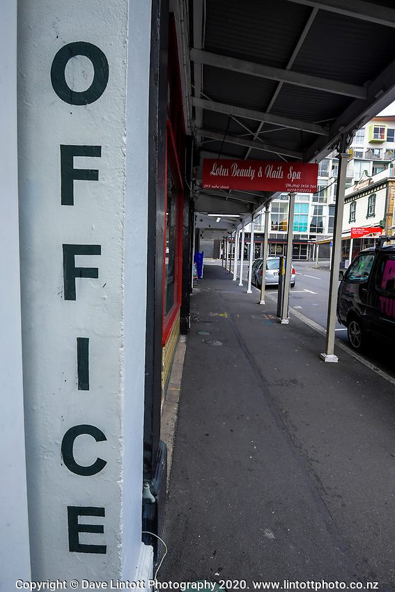 The intersection of Karo Drive and Cuba Street at 10am during quarantine lockdown for COVID19 pandemic in Wellington, New Zealand on Wednesday, 1 April 2020. Photo: Dave Lintott / lintottphoto.co.nz
