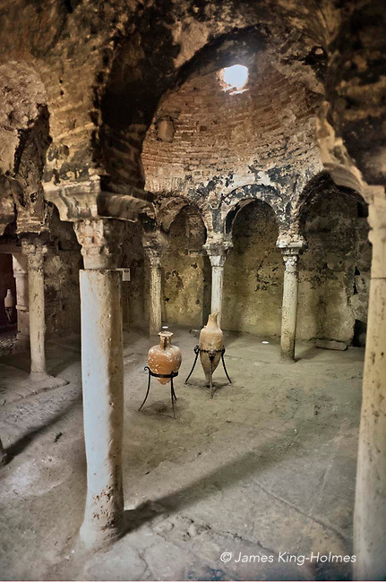 The interior of the Banos Arabes or Arabic Baths in Palma de Mallorca. This building and garden is one of the few monuments to the arabic period of the island.