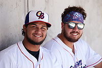 Kannapolis Cannon Ballers catchers and Kleyder Sanchez (left) and Richard Garcia (right) during the game against the Lynchburg Hillcats at Atrium Health Ballpark on August 29, 2021 in Kannapolis, North Carolina. (Brian Westerholt/Four Seam Images)