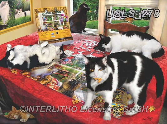 Lori, REALISTIC ANIMALS, REALISTISCHE TIERE, ANIMALES REALISTICOS, zeich, paintings+++++Puzzle with Kitties_9_10in_72,USLS278,#a#, EVERYDAY ,puzzle,puzzles