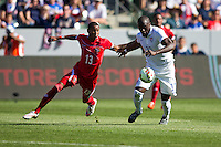 Carson, CA - Sunday, February 8, 2015 Jozy Altidore (17) of the USMNT and Alfredo Stephens (13) of Panama. The USMNT defeated Panama 2-0 during an international friendly at the StubHub Center.