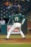 Gunnar Schubert (19) of the Greensboro Grasshoppers at bat against the West Virginia Power at First National Bank Field on August 9, 2018 in Greensboro, North Carolina. The Power defeated the Grasshoppers 9-7 in game two of a double-header. (Brian Westerholt/Four Seam Images)