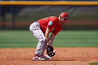 Boston Red Sox Nick Lovullo (18) fields a throw during a Minor League Spring Training game against the Tampa Bay Rays on March 25, 2019 at the Charlotte County Sports Complex in Port Charlotte, Florida.  (Mike Janes/Four Seam Images)