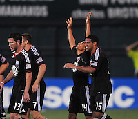 DC United midfielder Andy Najar (14) celebrates his goal with team mate Barry Rice (15) in the 107th minute of the game.   DC United defeated Real Salt Lake 2-1 to advance to the round of 16 of the  U.S. Open Cup at RFK Stadium, Wednesday  June 2  2010.