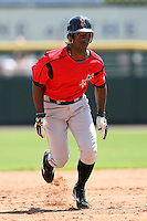 May 13, 2009:  Center Fielder Andrew McCutchen of the Indianapolis Indians, International League Class-AAA affiliate of the Pittsburgh Pirates, runs the bases during a game at Frontier Field in Rochester, FL.  Photo by:  Mike Janes/Four Seam Images