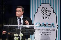 Denis Coderre<br /> <br />  au Gala Phenicia de la Chambre de Commerce LGBT du Québec, tenu au Parquet de la Caisse de Depots et Placements du Quebec, jeudi, 26 mai 2016.<br /> <br /> <br /> PHOTO : Pierre Roussel -  Agence Quebec Presse