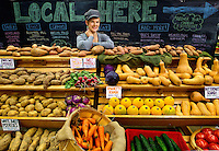 Photographic portrait of Jacqueline Venner Senske, the operations manager at the 7th Street Public Market in Uptown Charlotte, North Carolina. Building upon the success of Charlotte's Center City Green Market, the Seventh Street Public Market opened in 2012 to be a year-round market serving and celebrating local food artisans, entrepreneurs and local and regional farmers. Image is part of a series of photos taken of the Center City attraction.