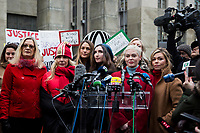 NEW YORK, NEW YORK - JANUARY 6: Actress Rose McGowan, center, speaks with members of the media after Harvey Weinstein arrives at the Manhattan courthouse. On January 6, 2020 in New York City. Weinstein pleaded not guilty to five counts of rape and faces a possible life sentence in prison. (Photo by Pablo Monsalve / VIEWpress)