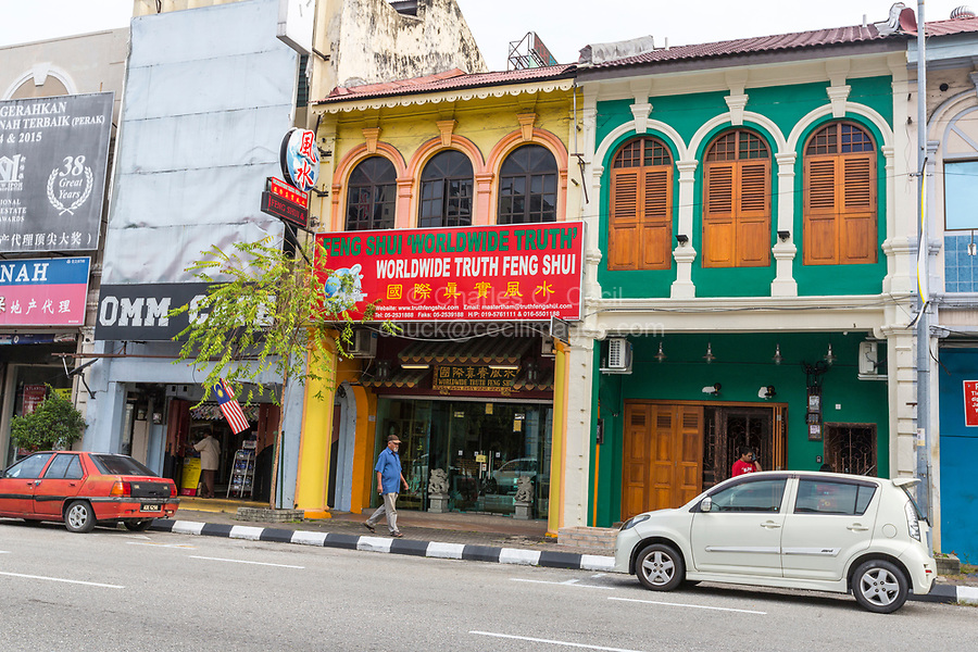 Street Scene with Feng Shui Store, Ipoh, Malaysia.