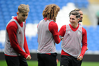 Ethan Ampadu (left) and Harry Wilson (right) Share a joke during the Wales Training Session at the Cardiff City Stadium in Cardiff, Wales, UK. Thursday 15 November 2018