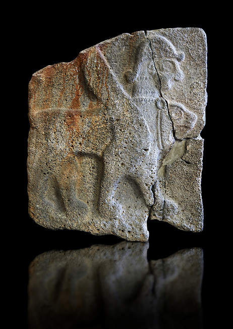 9th century BC stone Neo-Hittite/ Aramaean Orthostats from Palace Temple of the Aramaean city of Tell Halaf in northeastern Syria close to the Turkish border. The Orthostats are in a Neo Hittite style and depict mythical animals and figures that have magical properties. Pergamon Museum, Berlin