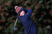 PINEHURST, NC - MARCH 02: Jimmie Massie of the University of Virginia tees off on the first hole at Pinehurst No. 2 on March 02, 2021 in Pinehurst, North Carolina.