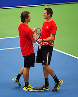 21-12-13,Netherlands, Rotterdam,  Topsportcentrum, Tennis Masters, Mens doubles final, winners Stephan Fransen and Wesley Koolhof(L)(NED)<br /> Photo: Henk Koster