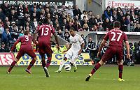 Saturday 2nd March 2013<br /> Pictured: (L-R) Davide Santon, Mapou Yanga-Mbiwa, Luke Moore, Steven Taylor.<br /> Re: Barclays Premier Leaguel, Swansea  v Newcastle at the Liberty Stadium in Swansea.