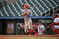 Clearwater Threshers Dalton Guthrie (46) bats during a Florida State League game against the Palm Beach Cardinals on August 11, 2019 at Roger Dean Chevrolet Stadium in Jupiter, Florida.  Palm Beach defeated Clearwater 4-1.  (Mike Janes/Four Seam Images)