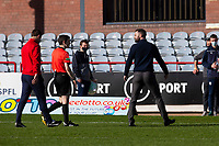 3rd April 2021; Dens Park, Dundee, Scotland; Scottish FA Cup Football, Dundee FC versus St Johnstone; Dundee manager James McPake talks to referee Craig Napier about a goal that was disallowed in the second half of the match