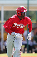 Philadelphia Phillies outfielder Dominic Brown during an Instructional League game against the Pittsburgh Pirates at Pirate City on October 11, 2011 in Bradenton, Florida.  (Mike Janes/Four Seam Images)