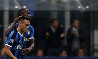 Football Soccer: UEFA Champions League -Group Stage- Group F Internazionale Milano vs Borussia Dortmund, Giuseppe Meazza stadium, October 23, 2019.<br /> Inter's Lautaro Martinez (l) celebrates after scoring with his teammate Romelu Lukaku (r) during the Uefa Champions League football match between Internazionale Milano and Borussia Dortmund at Giuseppe Meazza (San Siro) stadium, on October 23, 2019.<br /> UPDATE IMAGES PRESS/Isabella Bonotto
