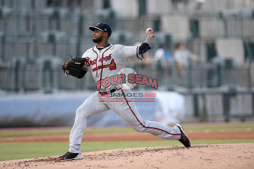 Pitcher Gabriel Noguera (14) of the Rome Braves delivers a pitch in a game against the Columbia Fireflies on Tuesday, June 4, 2019, at Segra Park in Columbia, South Carolina. Columbia won, 3-2. (Tom Priddy/Four Seam Images)