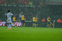 Sunday 9th November 2014<br /> Pictured: Arsenal celebrate their first half goal <br /> Re: Barclays Premier League Swansea City v Arsenal at the Liberty Stadium, Swansea, Wales,UK