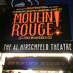 """Theatre Marquee during the Broadway Opening Night performance  for """"Moulin Rouge! The Musical"""" at the Al Hirschfeld Theatre on July 25, 2019 in New York City."""