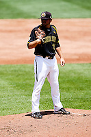 Albert Minnis (33) of the Wichita State Shockers on the mound during a game against the Missouri State Bears in the 2012 Missouri Valley Conference Championship Tournament at Hammons Field on May 23, 2012 in Springfield, Missouri. (David Welker/Four Seam Images)