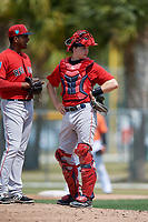 Boston Red Sox catcher Charlie Madden (83) during a Minor League Spring Training game against the Baltimore Orioles on March 20, 2018 at Buck O'Neil Complex in Sarasota, Florida.  (Mike Janes/Four Seam Images)