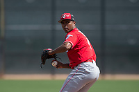 Cincinnati Reds relief pitcher Wendolyn Bautista (40) during a Minor League Spring Training game against the Los Angeles Angels at the Cincinnati Reds Training Complex on March 15, 2018 in Goodyear, Arizona. (Zachary Lucy/Four Seam Images)