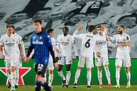 16th March 2021; Madrid, Spain;  Karim Benzema and Nacho Fernandez of Real Madrid celebrating their goal for 1-0 during the Champions League match, round of 16, between Real Madrid and Atalanta played at Alfredo Di Stefano Stadium