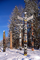 Totem Poles at Brockton Point in Stanley Park, Vancouver, BC, British Columbia, Canada, Winter