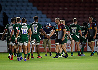9th September 2020; Twickenham Stoop, London, England; Gallagher Premiership Rugby, London Irish versus Harlequins; Chris Robshaw of Harlequins shakes hands with Chunya Munga of London Irish after full time