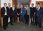 St Johnstone FC Hall of Fame Dinner, Perth Concert Hall….03.04.16<br />Jo Wilson with some of the players<br />Picture by Graeme Hart.<br />Copyright Perthshire Picture Agency<br />Tel: 01738 623350  Mobile: 07990 594431