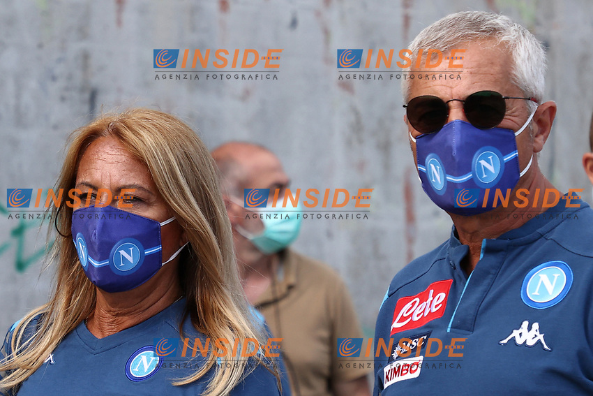 Napoli supporters wear face masks prior to the friendly football match between Castel di Sangro Cep 1953 and ASD L'Aquila 1927 at stadio Patini in Castel di Sangro, Italy, August 28, 2020. <br /> Photo Cesare Purini / Insidefoto