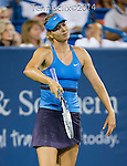 Maria Sharapova (RUS) during her semifinal match against Ana Ivanovic (SRB). Ivanovic advanced to Sunday's final with a score of 62 57 75 at the Western & Southern Open in Mason, OH on August 16, 2014.