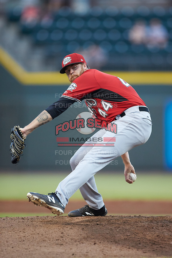 Carolina Mudcats starting pitcher Braden Webb (44) in action against the Winston-Salem Dash at BB&T Ballpark on June 1, 2019 in Winston-Salem, North Carolina. The Dash defeated the Mudcats 5-4 in game two of a double header. (Brian Westerholt/Four Seam Images)