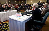Quebec City, October 30, 2007 - GÈrard Bouchard (far right) and Charles Taylor, co-chairs of the Bouchard-Taylor commission, listen to His Eminence Marc Cardinal Ouellet, Archbishop of Quebec (far left) at the Bouchard-Taylor commission at the Delta Hotel in Quebec City, October 30, 2007. Photo Francis Vachon<br /> <br /> PHOTO :  Francis Vachon - Agence Quebec Presse
