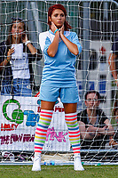 London, UK on Sunday 31st August, 2014. Amy Childs in goal during the Soccer Six charity celebrity football tournament at Mile End Stadium, London.