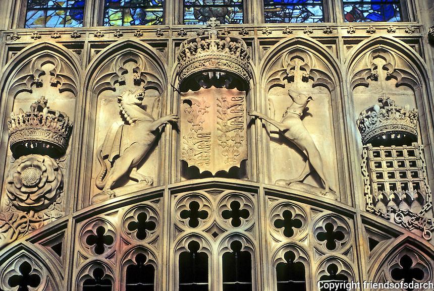 Cambridge: King's College Chapel, Stone Heraldry. Photo '90.