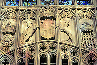Cambridge: King's College Chapel, Stone Heraldry. Photo '90.