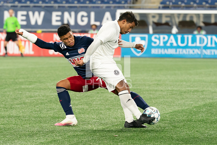 FOXBOROUGH, MA - OCTOBER 09: Eduardo Sosa #10 of Fort Lauderdale CF passes the ball as Damian Rivera #72 of New England Revolution II tries to block during a game between Fort Lauderdale CF and New England Revolution II at Gillette Stadium on October 09, 2020 in Foxborough, Massachusetts.