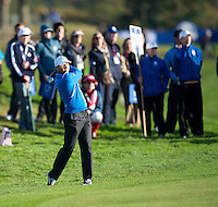 26.09.2014. Gleneagles, Auchterarder, Perthshire, Scotland.  The Ryder Cup.  Sergio Garcia (EUR) in action during the Friday Fourballs.