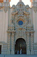 San Diego: Balboa Park--Casa del Prado entrance. Churriqueresque (Span. Baroque). Bertram Goodhue, Arch.  Photo '78.