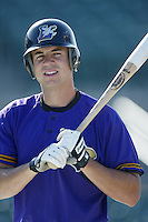 Josh Kroeger of the Lancaster JetHawks before a California League 2002 season game at The Hanger, in Lancaster, California. (Larry Goren/Four Seam Images)