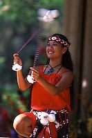 Maori Performance with Poi balls at May Day Celebration.  Hula Halau Na ëOpio O Koíolau.