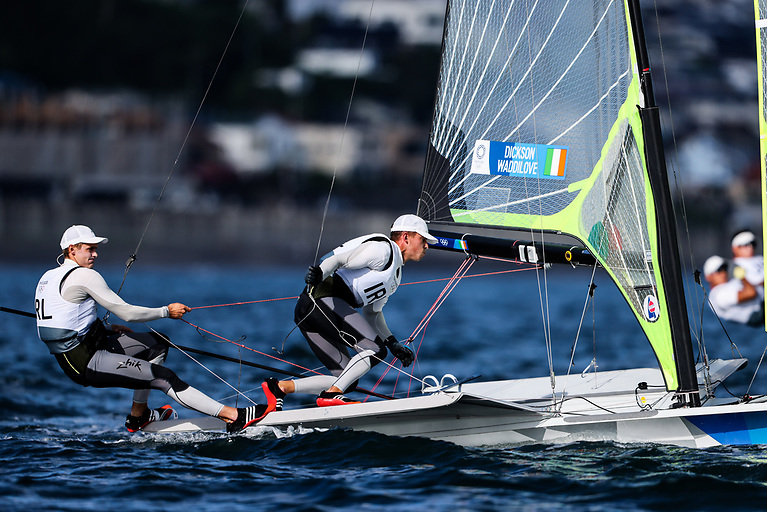 Ireland's Robert Dickson and Sean Waddilvoe exploded into action in race one of the 49er Olympic Regatta in Enoshima today.